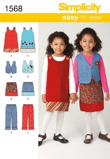 1568 Simplicity Pattern: Child's Pinafore, Waistcoat, Trousers and Skirt